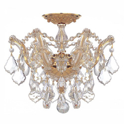 Crystorama Three Light Gold Bowl Semi-Flush Mount