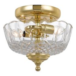 Crystorama Two Light Polished Brass Bowl Semi-Flush Mount