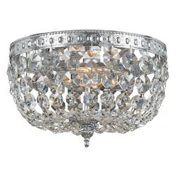 Crystorama Chrome 2 Light Flush Mount Ceiling Fixture with Crystal shade