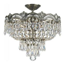 Crystorama 3 Light Swarovski Elements Crystal Semi-Flush