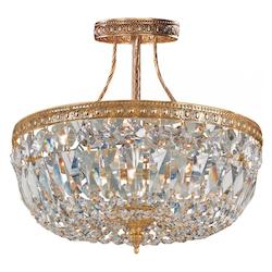 Crystorama Olde Brass / Hand Polished Richmond 3 Light Semi-Flush Crystal Ceiling Fixture