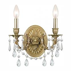 Crystorama Two Light Aged Brass Wall Light