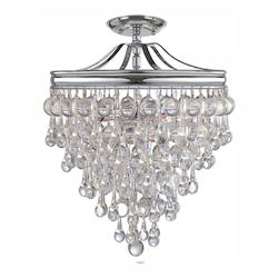Crystorama Polished Chrome Calypso 3 Light Semi-Flush Ceiling Fixture