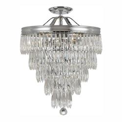 Crystorama Polished Chrome Chloe 6 Light Semi-Flush Ceiling Fixture