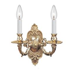 Crystorama Two Light Polished Brass Wall Light