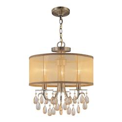 Crystorama Three Light Antique Brass Drum Shade Chandelier