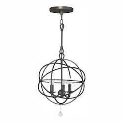 Crystorama English Bronze Solaris 3 Light 12in. Wide Wrought Iron Mini Chandelier