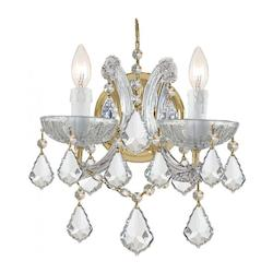 Crystorama Maria Theresa Gold 2 Light Hand Cut Crystal Wall Light Sconc