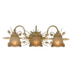 Crystorama Gold Leaf Primrose 3 Light Bathroom Vanity Light with Swarovski Spectra Crystals
