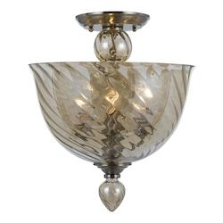 Crystorama Three Light Polished Chrome Cognac Glass Bowl Semi-Flush Mount