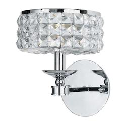 Crystorama Polished Chrome Chelsea 1 Light Wall Sconce with Clear Hand-Cut Crystals