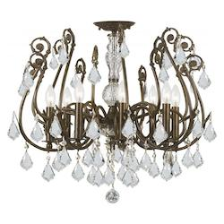 Crystorama 8 Light Hand Cut Crystal Semi-Flush
