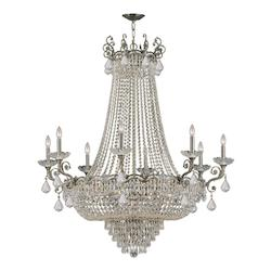 Crystorama Eight Light Historic Brass Up Chandelier
