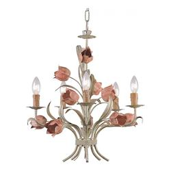 Crystorama Sage / Rose Southport 5 Light 20in. Wide Wrought Iron Candle Style Chandelier