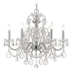 Crystorama Polished Chrome Imperial 6 Light 26in. Wide Steel Candle Style Chandelier