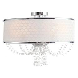 Crystorama Five Light Chrome Drum Shade Chandelier