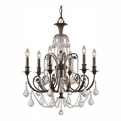 Crystorama Six Light English Bronze Up Chandelier