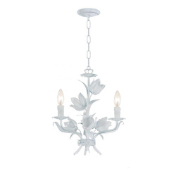 Crystorama Wet White Southport 3 Light 14in. Wide Wrought Iron Candle Style Mini Chandelier