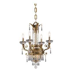 Crystorama Four Light Aged Brass Up Chandelier