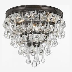 Crystorama Vibrant Bronze Calypso 3 Light Crystal Flush Mount Ceiling Fixture