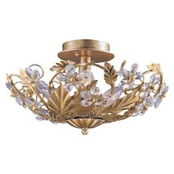 Crystorama Six Light Gold Leaf Bowl Semi-Flush Mount