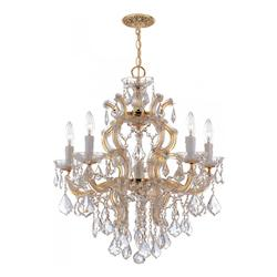 Crystorama Maria Theresa Gold 6 Light Hand Cut Crystal Chandelier