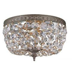 Crystorama Richmond 2 Light Bronze Crystal Flush Mount Bowl Ceiling Light