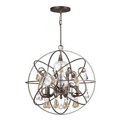 Crystorama Five Light English Bronze Up Chandelier
