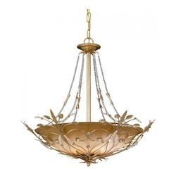 Crystorama Six Light Gold Leaf Up Chandelier
