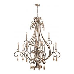 Crystorama Twelve Light Distressed Twilight Up Chandelier
