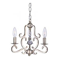 Crystorama Olde Silver Orleans 3 Light 13in. Wide Steel Candle Style Mini Chandelier