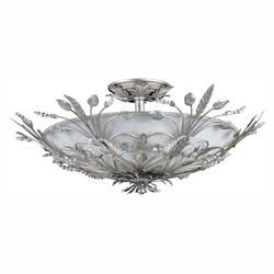 Crystorama Six Light Silver Leaf Bowl Semi-Flush Mount