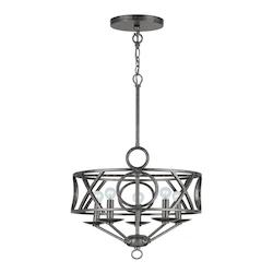 Crystorama English Bronze Odette 5 Light 17in. Wide Wrought Iron Mini Drum Chandelier