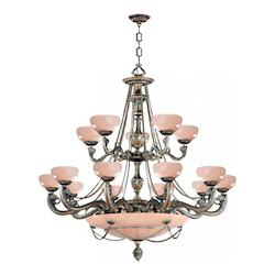 Crystorama Bronze Natural Alabaster 20 Light 48in. Wide 3 Tier Cast Brass Chandelier