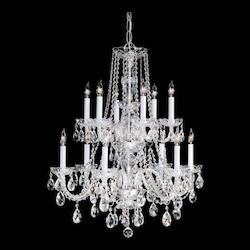 Crystorama Traditional Chrome Clear Crystal Glass Chandelier With 12 Lights