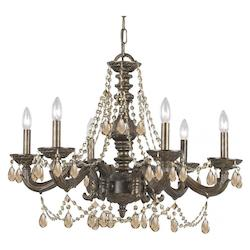 Crystorama Six Light Venetian Bronze Up Chandelier