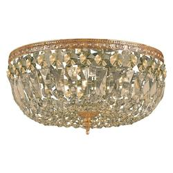 Crystorama Three Light Olde Brass Bowl Flush Mount