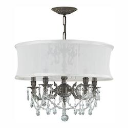 Crystorama Five Light Pewter Drum Shade Chandelier