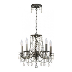 Crystorama Five Light Pewter Up Mini Chandelier
