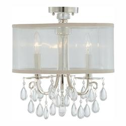 Crystorama Three Light Polished Chrome Drum Shade Semi-Flush Mount