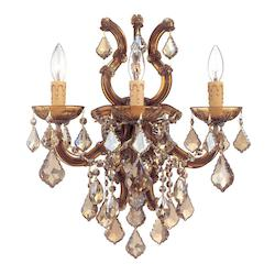 Crystorama Three Light Antique Brass Wall Light