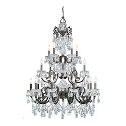 Crystorama Twenty Light English Bronze Up Chandelier