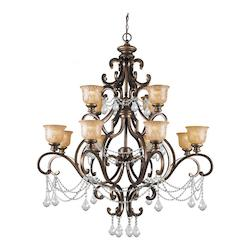 Crystorama Twelve Light Bronze Umber Amber Etched Glass Up Chandelier