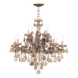 Crystorama Twelve Light Antique Brass Up Chandelier