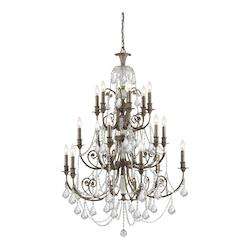 Crystorama Eighteen Light English Bronze Up Chandelier