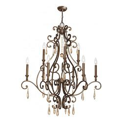 Crystorama Nine Light Distressed Twilight Up Chandelier