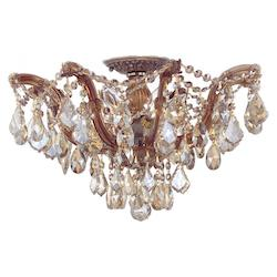 Crystorama Antique Brass Maria Theresa 10 Light Semi-Flush Ceiling Fixture