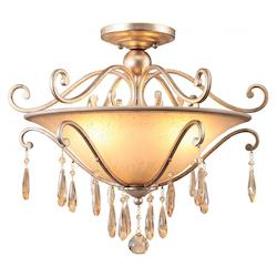 Crystorama Distressed Twilight Shelby 3 Light Semi Flush Ceiling Fixture