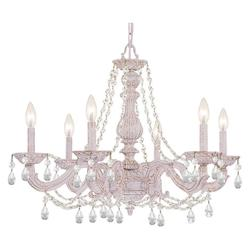 Crystorama Antique White Paris Market 6 Light Single Tier Adjustable Chandelier