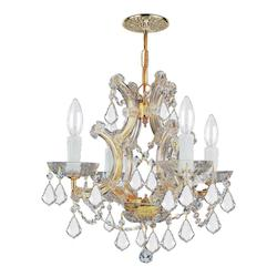 Crystorama Maria Theresa Gold 4 Light Hand Cut Crystal Mini Chandelier
